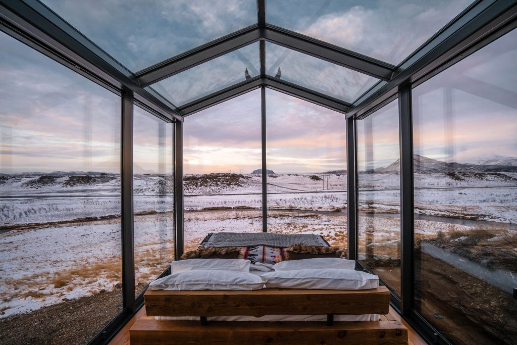 Panorama glass lodge Islande